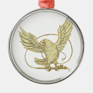 Adler erfassendes Bullwhip Zeichnen Rundes Silberfarbenes Ornament