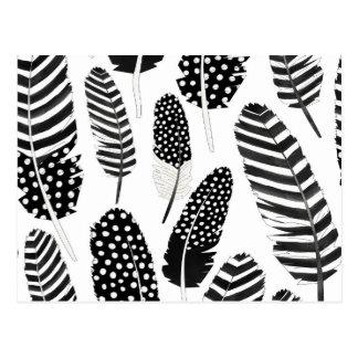 Adler-Eulen-Feder-MusterWatercolor Schwarz-weiß Postkarte