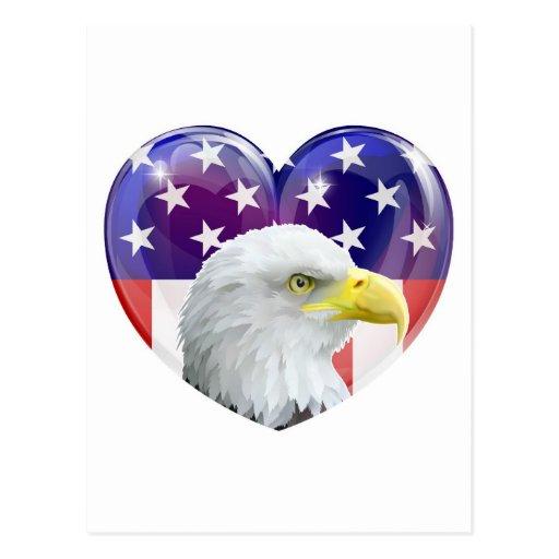 Adler-Liebeherz der amerikanischen Flagge Postkarten