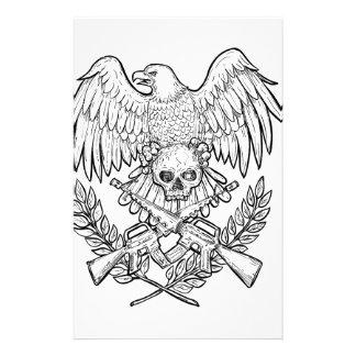 Adler-Schädel-Angriffs-Gewehr-Zeichnen Briefpapier