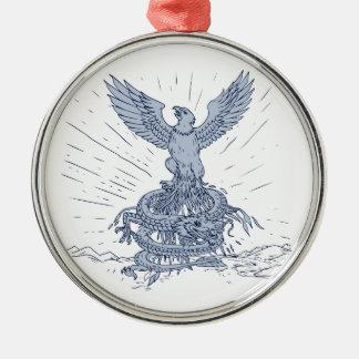 Adler-und Drache-Gebirgszeichnen Rundes Silberfarbenes Ornament