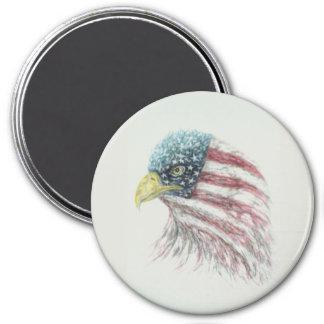 Adler, Weißkopfseeadler, Adler mit amerikanischer Runder Magnet 7,6 Cm