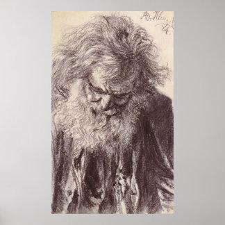 Adolph von Menzel Portrait eines alten Mannes Poster