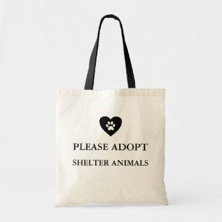 """""""Adoptieren Sie bitte Schutz-Tier-"""" Taschen-Tasche Tragetasche"""