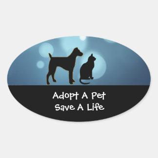 Adoptieren Sie ein Haustier-Aufkleber Ovaler Aufkleber