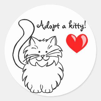 Adoptieren Sie einen Kittyaufkleber Runder Aufkleber