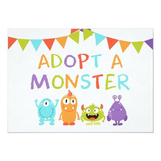 Adoptieren Sie einen Monstergeburtstag Karte