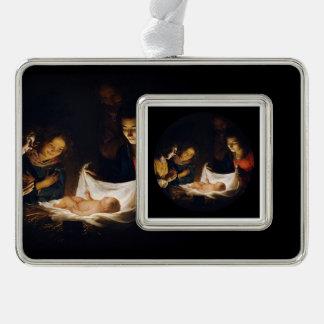 Adorazione Del Bambino Adoration des Kindes Rahmen-Ornament Silber