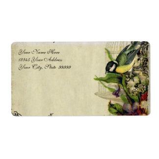 Adressen-Etikett Gelb-Lied-Vogelkäfig mit Blumen