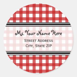 Adressen-Etikett - roter Gingham Sticker