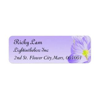Adressen-Etiketten lila Blumen-Muster Rücksende Aufkleber