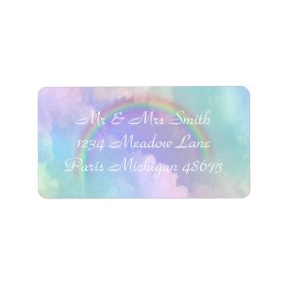 Adressen-Etiketten/Regenbogen und Wolken Adressaufkleber