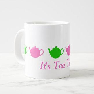 Adrette rosa und grüne Teekannen Jumbo-Tasse