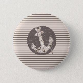 Adretter beige Streifenstrand nautischanker Runder Button 5,1 Cm