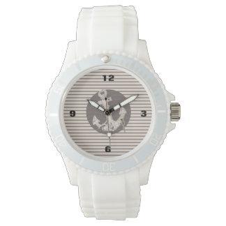 Adretter beige Streifenstrand nautischanker Uhr