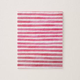 Adretter rosa Brushstroke Stripes Aquarell Puzzle