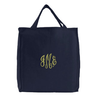 Adrettes gelbes Skript-Monogramm gestickte Bestickte Einkaufstasche