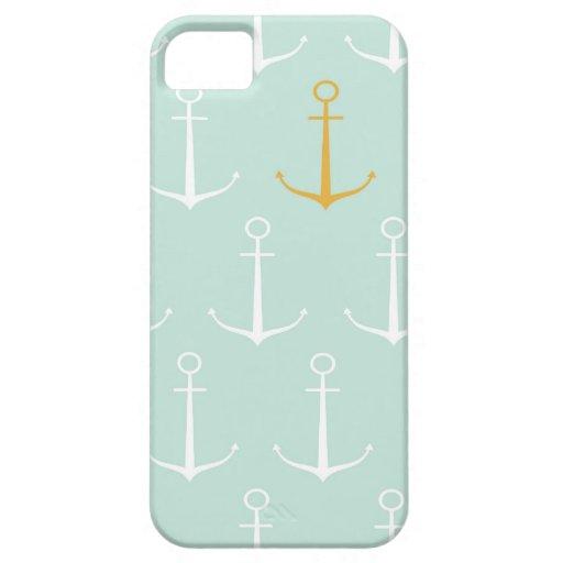 Adrettes girly blaues Ankermuster der Seeanker iPhone 5 Schutzhüllen