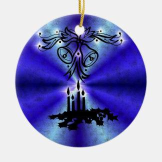Advent, Christmas Artdeco on blue green Rainbow Keramik Ornament