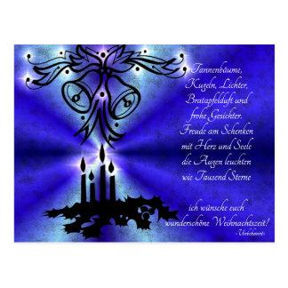 Advent, Weihnachten , Gedicht auf Deutsch Postkarte