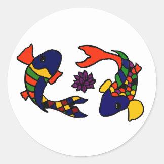 AE, bunter Koi Fisch-Kunst-Cartoon Runde Aufkleber
