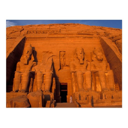 AF, Ägypten, Abu Simbel. Fassade am Sonnenuntergan Postkarte
