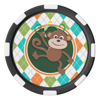 Affe auf buntem Rauten-Muster Poker Chips Set