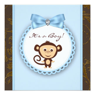 Affe-Baby-Dusche Browns blaue Quadratische 13,3 Cm Einladungskarte