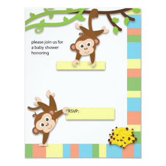 Affe-Babyparty-Einladung 10,8 X 14 Cm Einladungskarte