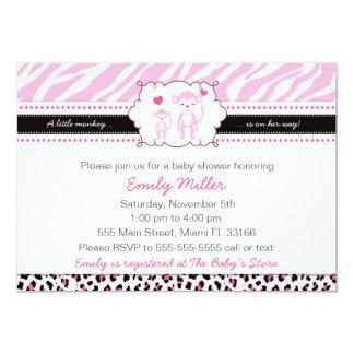 Affe-Babyparty-Einladungs-Mädchen-Rosa Karte