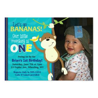 Affe-Bananen-erste Geburtstags-Foto-Einladungen 12,7 X 17,8 Cm Einladungskarte