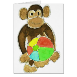 Affe Beachball Karte