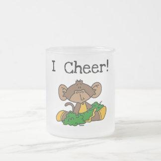 Affe-Cheerleader-Grün und Goldt-shirts Mattglastasse