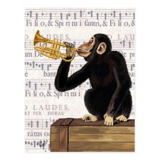 Affe, der Trompete spielt Postkarte