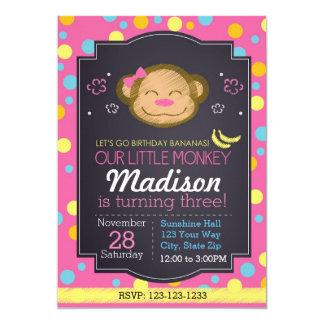 Affe-Geburtstags-Einladung (Rosa) Karte