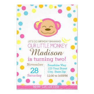 Affe-Geburtstags-Einladung (Rosa und Weiß) Karte