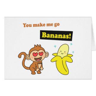 Affe gehen Bananen, niedlicher Liebe-Spaß Grußkarte