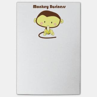 Affe-Geschäft Brown und gelber Schimpanse-Cartoon Post-it Klebezettel