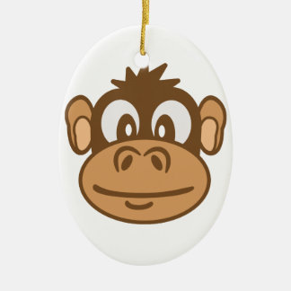 Affe-Gesicht Ovales Keramik Ornament