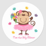 Affe-große Schwester Runder Sticker