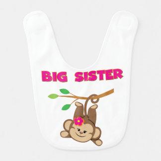 Affe-große Schwester-Schellfisch Babylätzchen