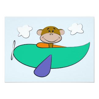 Affe im bunten Flugzeug-Geburtstag 14 X 19,5 Cm Einladungskarte