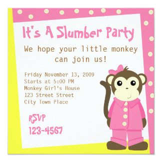 Affe in den Pyjamas Quadratische 13,3 Cm Einladungskarte