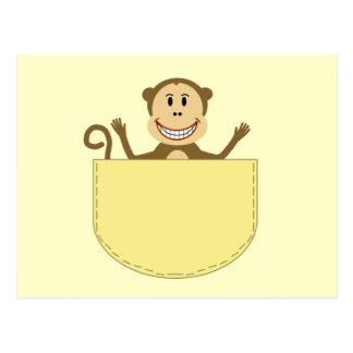 Affe in einer Taschen-Postkarte Postkarte