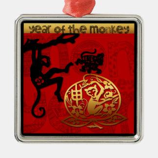 Affe-Jahr-chinesische Tierkreis-Verzierung Silbernes Ornament