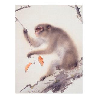 Affe-japanische Malerei - Jahr des Affen Postkarte