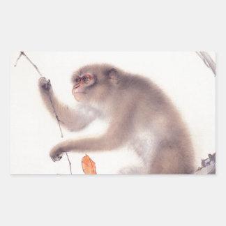 Affe-japanische Malerei - Jahr des Affen Rechteckiger Aufkleber