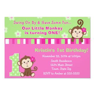 Affe-Mädchen-1. Geburtstags-Einladungs-12x18 Karte 12,7 X 17,8 Cm Einladungskarte
