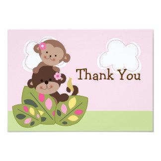 Affe-Mädchen-Schwester-Babyparty danken Ihnen zu 8,9 X 12,7 Cm Einladungskarte