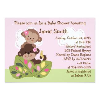 Affe-Mädchen-Schwester-Babyparty-Einladung 12,7 X 17,8 Cm Einladungskarte